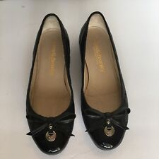 Russell & Bromley Ballet Flats Black Quilted Leather Patent Leather Toe Sz 351/2