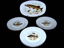7pc Vtg German Bavaria J. Kronester Fine China Porcelain Fish Set Platter Plates