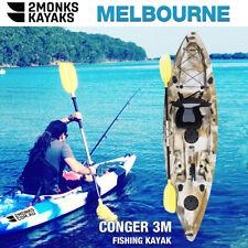 Fishing Kayak Single Sit-On 3M 5 Rod Holders Seat Paddle Melbourne Desert Camo