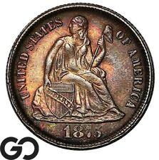 1875-CC Seated Liberty Dime, Beautiful Color, Very Nice Choice BU++, Below Bow!