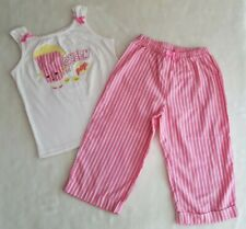 "GYMBOREE ""Queen of Pop"" Popcorn Pink PJ's S 5 6 Top Crop Pants Pajamas Sleepwear"