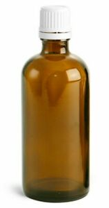 Essential Oil Bottles Empty Amber Glass Euro Dropper White Cap Refillable Vial