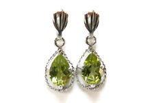 9ct White Gold Peridot Dangly Teardrop Earrings Made in UK Gift Boxed
