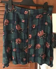 Urban Outfitters Cooperative Mini Skirt, Floral Plaid Zip, Grunge Vintage Size S