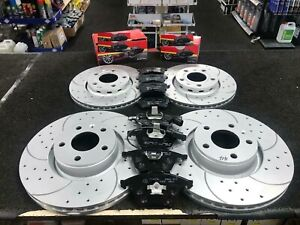 FOR AUDI A4 A5 A6 A7 Q5 S4 S5 S7 DRILLED GROOVED FRONT REAR BRAKE DISCS AND PADS