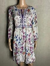DERHY - romantisches  Kleid FICTION allover Blumen ecru bunt  ~ Gr. 42 XL 510a