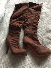 """Brown Chocolate Thigh High Boots Over Knee Suede Size 6.5 Heel Height 4.5"""" high"""