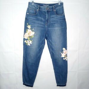 Maurices High Rise Crop Jeans Rose Print Women Size 11/12