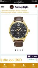 JBW MEN'S WATCH WITH BROWN LEATHER BAND