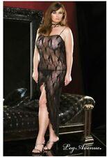 L/XL Black Bow Lace Dress Gown Plus Size Leg Avenue Private BBW
