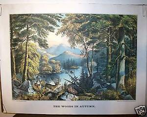 Currier & Ives Print -  THE WOODS IN AUTUMN  (Repro.)