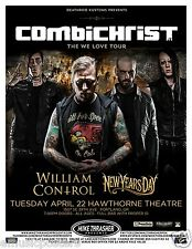 "COMBICHRIST / WILLIAM CONTROL ""THE WE LOVE TOUR"" 2014 PORTLAND CONCERT POSTER"
