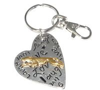 Live Laugh Love Heart Keyring Keychain - Gold Plated Greyhound or Whippet