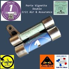 PORTE SUPPORT VIGNETTE MOTO DOUBLE TUBE CRIT AIR ASSURANCE Aluminium
