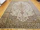 Exquisite Antique 1930-1940s Muted Ivory Colors 7x10ft Wool Pile Oushak Rug