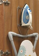 Ironing Board Storage Unit Rack Over The Door Hook Chrome Iron Holder Laundry