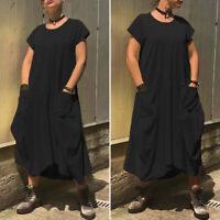 Summer Womens Short Sleeve Plus Size Loose Casual Plain Long Maxi Dress Sundress