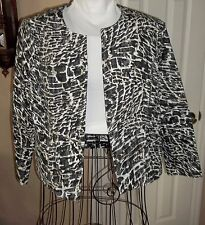 CHICO's Animal Printed Open Front Jacket Collarless Black White Tan Retail $99.