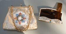 Vintage Rockabilly 1960s Evening Bag Florentine Leather w/ Grooming Set Pin Up