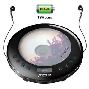 Portable CDs Player For Car FM transmitter LED Anti-skip USB Battery Headphones