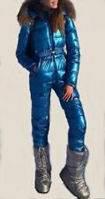 Man Woman Metallic Argentum Blue Ski Suit Skisuit Winter Overall One Piece Outwe