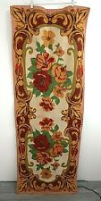 Vintage Floral Tapestry Curtain Drapery Panel Mid Century Wall Hanging Red Green