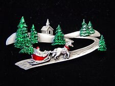 """JJ"" Jonette Jewelry Silver Pewter 'Winter Sled Ride Among Trees' Christmas Pin"