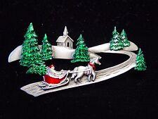 """JJ"" Jonette Jewelry Silver Pewter 'Winter Sled Ride Among Trees' Christmas Pin"