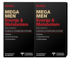 GNC Mega Men Energy & Metabolism Multivitamins 180 Caplets (2 x 90 ct bottles)