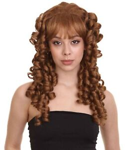Adult Women Long Colonial Curly Wig | Brown Cosplay Party Fancy Wig HW-3328