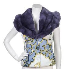 Vintage Emilio Pucci Down Vest Detach Grey Fur Collar Signature Fabric 6 8