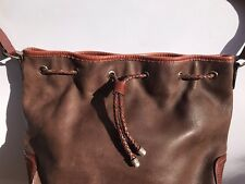 Leather Purse Brown Two-Tone Drawstring Bucket Bag Hobo Shoulder Simple Fossil