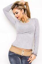 Camiseta de Mujer Básico Blusa Top Manga Larga Suéter Jersey Entallado 36-40