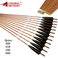 Archery Spine 400 450 500 600 ID6.2 32'' Carbon Arrows Feather Bow Hunting 6PCS