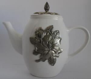 Arthur Court Teapot Earthen Metalware Magnolia Pattern