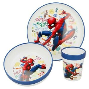 Spiderman 3-Piece Children's Kids Dining Set (Plate, Bowl and Cup 260 ml)