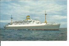 CA-391 SS Maasdam Ship, Holland America Line Chrome Postcard Boat at Sea