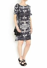 Second female GUESS dress navy blue print silk tunic s UK 14 16 anthropologie