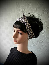 Black gingham hair scarf, rockabilly 50's headband, vintage retro checked scarf