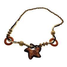 Hip Hop Retro Good Wooden Pentagram Pendant Necklace Rosary Beads Sweater Chain