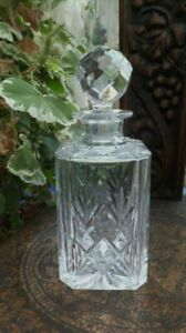 Highland Crystal Royal Scot Spirit Decanter Square Cut Hand Cut Diamonds & Fans