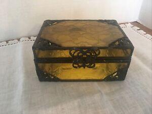 Golden Glass Antique Style Jewlery Box