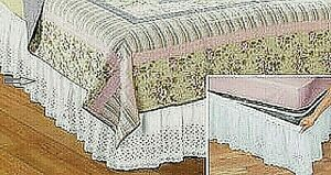 "Eyelet Wrap Around Bed Skirt 14"" Queen - White Elasticized bed skirt wraps NEW"