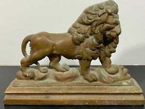 Vintage Solid Bronze Fierce Lion Art Statue Figurine Doorstop 6.5LBS