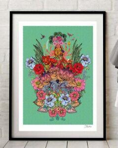 Indian Goddess Durga Hindu Yoga Green Art Print By Msdre A4 A3