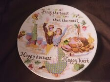 Poole pottery transfer sampler style plate First the toast then the roast 15 cms