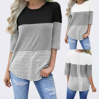 Women Casual Loose Cotton Striped Lace Patchwork 3/4 Sleeve T-Shirt Tops Blouse