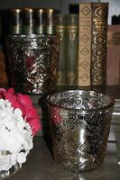 * Set 2 Teelichthalter Glas Champagner Shabby Vintage Bauernsilber