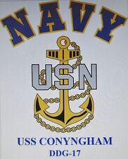 USS CONYNGHAM  DDG-17* DESTROYER * U.S NAVY W/ ANCHOR* SHIRT