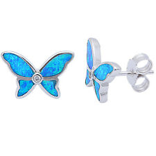 Blue Opal & Cz Butterfly.925 Sterling Silver Earrings